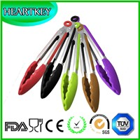 Kitchen and Barbecue Grill Tongs Silicone BBQ Cooking Stainless Steel Locking Food Tong