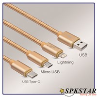 2016 most popular 3 in 1 micro USB Cable with micro USB, 8 Pin, Type C Connectors