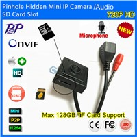 Audio&Video Super Mini Onvif IP camera 720P HD Indoor Security Pinhole 3.7mm Lens SD Card Slot P2P
