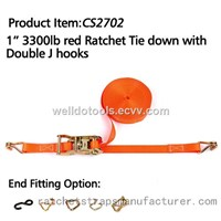 "CS2702 1"" 3300lbs red Ratchet Tie down with Double J hooks"