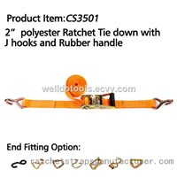 "CS3501 2"" polyester Ratchet Tie down with J hooks and rubber handle"