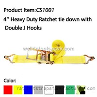 "WDCS041001 4"" Heavy Duty Ratchet tie down with Double J Hooks"