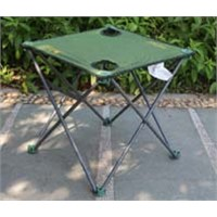 Simple camping folding table with cup holder, 600D oxford portable picnic table