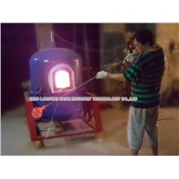 Moveable glass melting furnace for glass studio, glass blowers