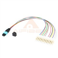 MPO MTP/UPC Male to Simplex 12LC/UPC 10 Gbs OM4 Optical Fiber Harness/ Fanout Cable