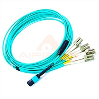 MTP to 4LC/UPC Duplex 10G OM3 50/125um Multimode Fiber Optical Fanout or Breakout Patch Cable