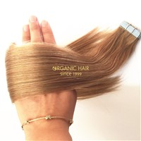 Unprocessed virgin human hair tape in hair extensions with full cuticle