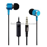 Bass Stereo Drive-By-Wire in Ear Earphone 3.5mm Real Gold Plated Headsets with Switch Song and Mic