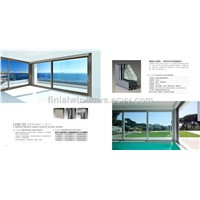 Hongtai HB138 Series thermal break aluminum casement windows with flyscreen