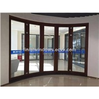 High end aluminum with wood cladding curved folding door