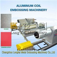 Aluminum plate embossing machine for producing embossed aluminum plates for Decorative materials