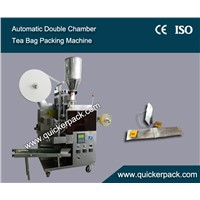 Double Chamber Tea Bag Packing Machine with Thread and Tag