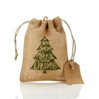 Mini drawstring jute pouches gift use decoration bag christmas present bags
