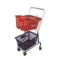 Japanese style two tier shopping cart for two shopping baskets