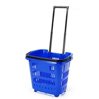 Plastic rolling shopping basket with two wheels for supermarket