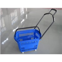 Supermarket Plastic Rolling Shopping Basket on  Two Wheels