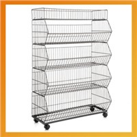 Collapsible metal basket display stand / Stacking basket stand shelving