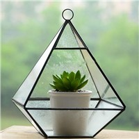 Metal Frame Hanging Glass Terrarium Home Decoration Glass Vase Airplants Glass Bottle
