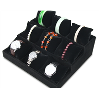 Black Velour Lining Jade Bracelet and Watch Display Tray