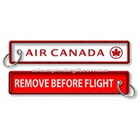 Remove Before Flight Air Canada Custom Logo Embroidery Fabric Keychain