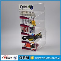 5 tiers perspex USB charger counter display, retail acrylic phone accessories counter display