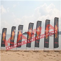 Outdoor advertising block feahter flag