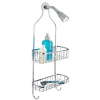 Shower Shelf with Hooks, Stainless Steel, 2 Tiers