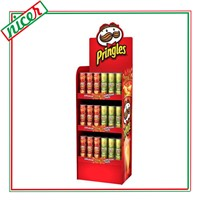Corrugated cardboard point of sale potato chips display rack