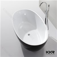 Luxury Black Freestanding Acrylic Stone Resin Bathtub