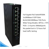 9 Ports Full Gigabit PoE Industrial Networking Switch with SFP Slot P509A