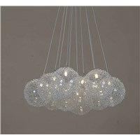 Round glass ball aluminium wire pendant lamp