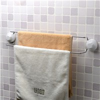 Double pole towel bar with suction cup