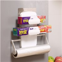 Paper Holders Type and Plastic Material 3 in 1 kitchen paper towel holder with rack