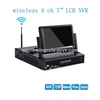 7 Inch HD LCD Screen WiFi Security 4CH NVR 720P H.264 CCTV Onvif WiFi Surveillance Camera System