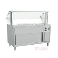 Commercial Stainless Steel Food Warmer with Pans & Glass Top