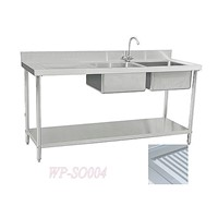 Stainless Steel Double Sink with Right Grooved Board & under Shelf