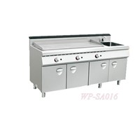 Standing Gas/Electric Griddle with Cabinet & Sink
