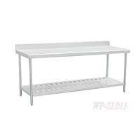 Commerical Kitchen Table, Two Layers, Stainless Steel, with Backsplash