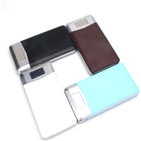 Double USB Fashion Leather Design Slim Power Bank, 8000mAh