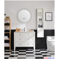 New Style Oak Bathroom Vanity, Venato Carrara Marble & Bluetooth Music Player