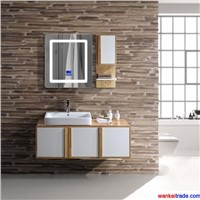 New Style Oak Bathroom Vanity with Double Doors, Bluetooth Music Player & Solid Wood Handle