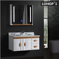 New Style PVC Solid Wood Bathroom Vanity, Mirror Cabinet with LED Touch Lamp