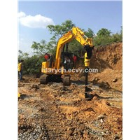 Construction Earthmoving Earth Drill Mounted In Excavator, Loader, Tractor