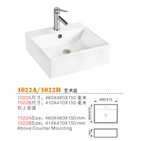 China Square Porcelain Basin, Top Counter Basin, Ceramic Wash Basin Suppliers 1022A