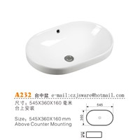Oval above Counter Basin, Ceramic Counter Wash Basin, Bathroom Sink China Suppliers & Manufacturers