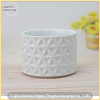 Engraved White Ceramic Candle Container Wholesale for Home Decoration