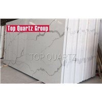 Construction Materials Artificial Stone Calacatta Nuvo White Quartz Stone Slab