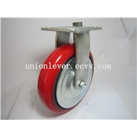 8 Inch Plate Type Rigid Red Polyurethane Caster