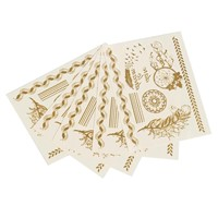 Long Lasting Fashion Gold Tone Metallic Feather Pattern Water Transfer Temporary Tattoos Sexy Body Art Stickers