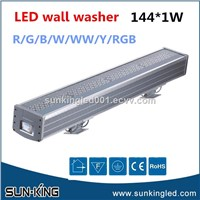Red Yellow Blue Green Warm White RGB RGBW Aluminum Outdoor IP65 LED Wall Washer Building Exterior Lighting 144W 144x1W